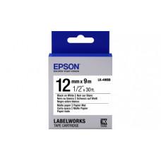 654023 Картридж EPSON с лентой LK4WBB (матовая 12мм, Бел./Черн.) (C53S654023)